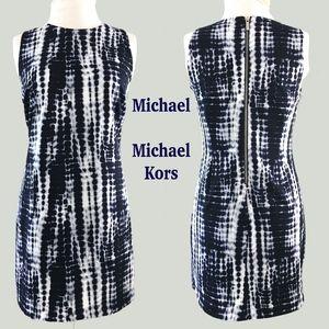 MICHAEL KORS Sleeveless Indigo Snake Sheath Dress